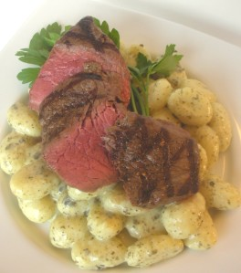 Grilled bison steaks with pesto goat cheese gnocchi (5)